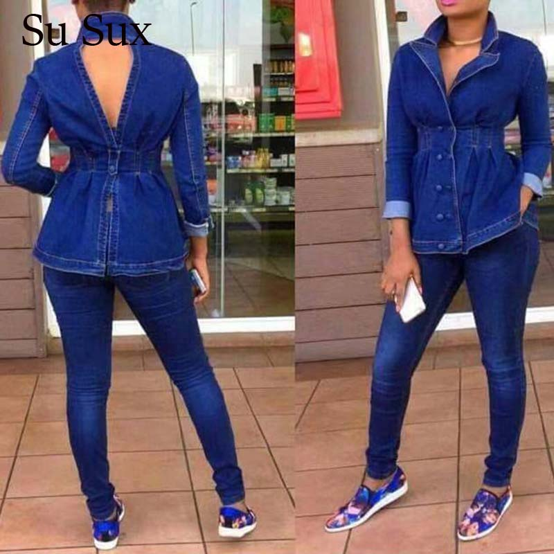 2020 New Casual Jeans Suit Women Denim Two Pieces Set V-Neck Long Sleeve Jeans Top&Long Pants Slim Tracksuit Outfits High Qualit