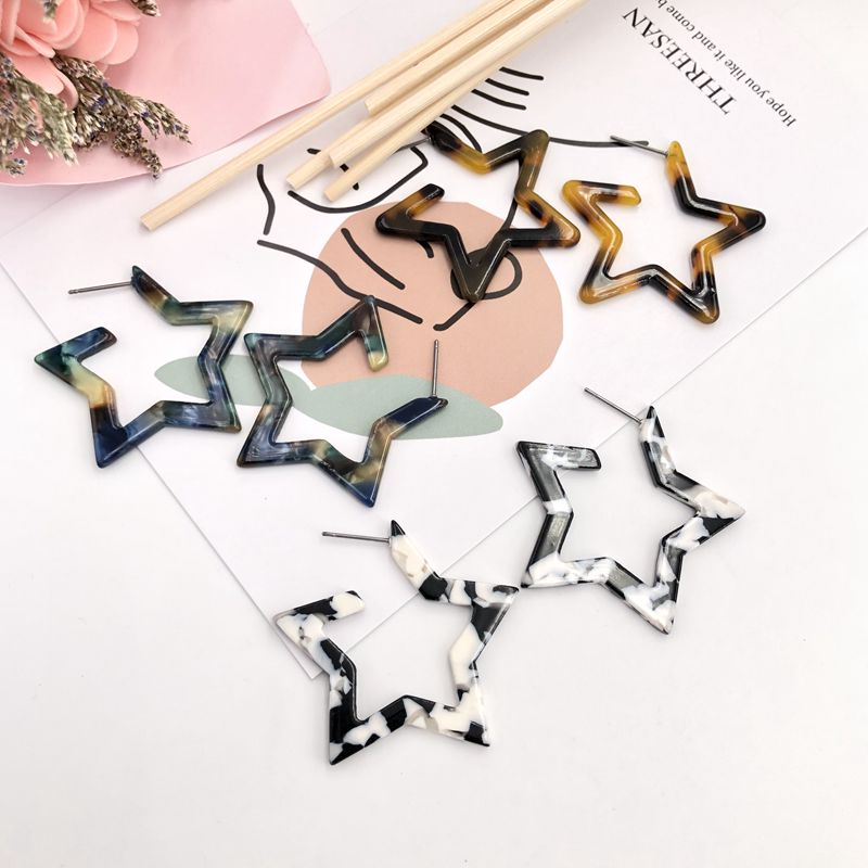 QIGO Acrylic Hollow Out Antique Star Stud Earrings Women Geometric Fashion Jewelry