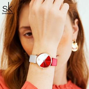 Image 3 - Часы наручные Shengke женские с кожаным ремешком, модные асимметричные, в винтажном стиле