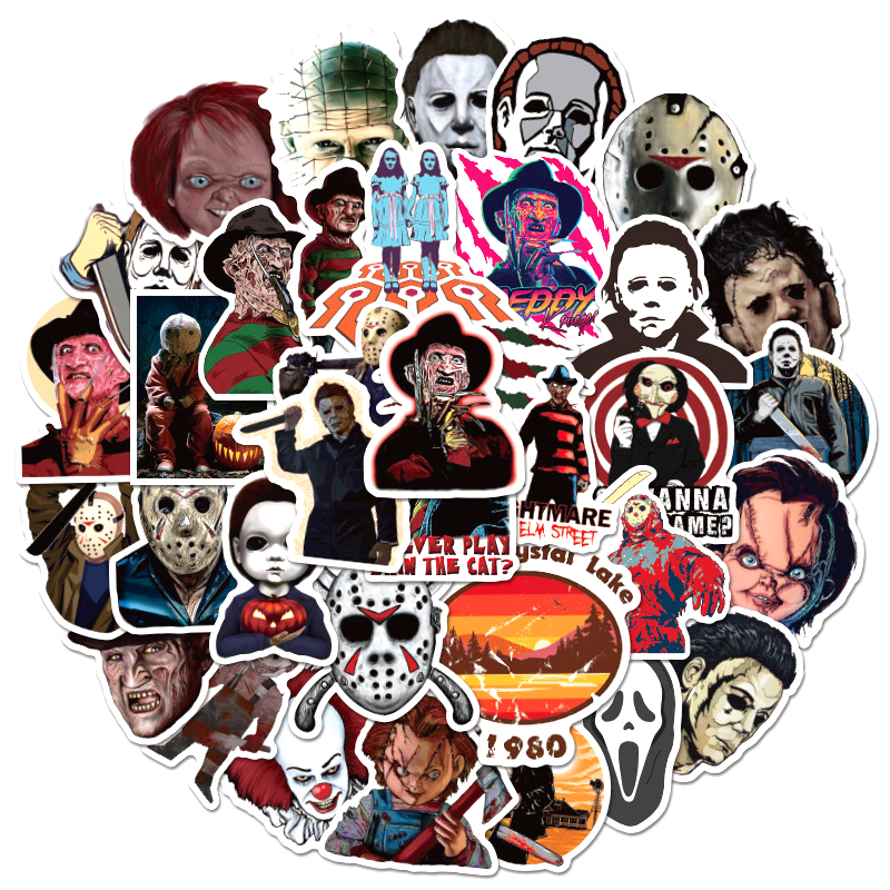 10/30/50pcs/pack Horror Movies Group Graffiti Stickers For Notebook Motorcycle Skateboard Computer Mobile Phone Cartoon Toy Box