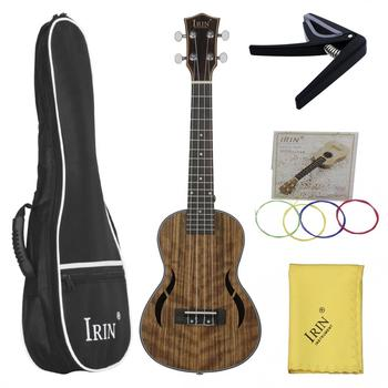 23 Inch Concert Ukulele Walnut Wood 18 Fret Four Strings Hawaii Guitar + Bag + Capo + Cloth + Colorful String