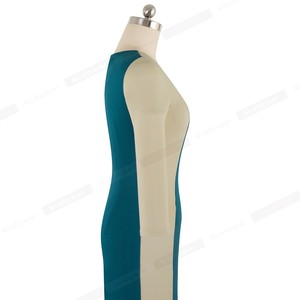 Image 3 - Nice forever Elegant Contrast Color Patchwork Office vestidos Business Party Bodycon Sheath Women Dress B546