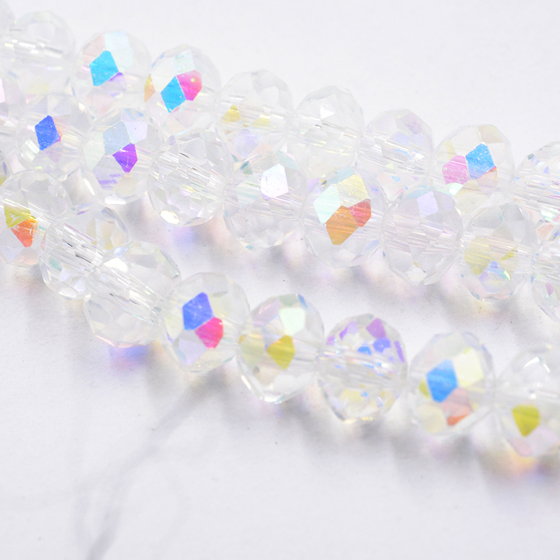 <font><b>3x4mm</b></font>//4x6mm/6x8mm AB <font><b>Crystal</b></font> Rondelle Beads Faceted Glass Beads for Jewelry Making DIY Female Bracelet Necklace Jewelry image