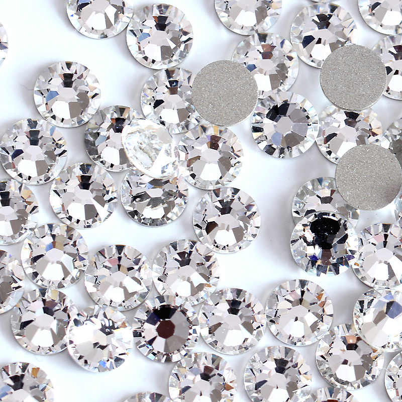 Super paillettes strass cristal clair ss3-ss50 Non HotFix FlatBack verre Nail Art strass brillant ongles décorations H0014