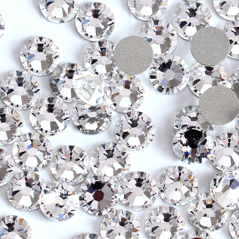Super Glitter Rhinestones Crystal Clear Ss3-ss50 Non HotFix FlatBack Glass Nail Art Rhinestones Shiny Nail Decorations H0014
