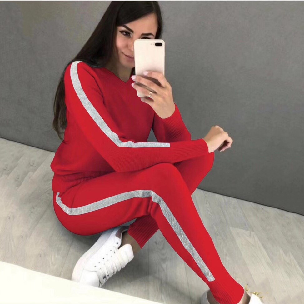 Fall 2019 Winter Warm Knitted Set V-Neck Sportswear 2 Piece Set Women Tracksuit Sweater And Striped Pant Sweater Set
