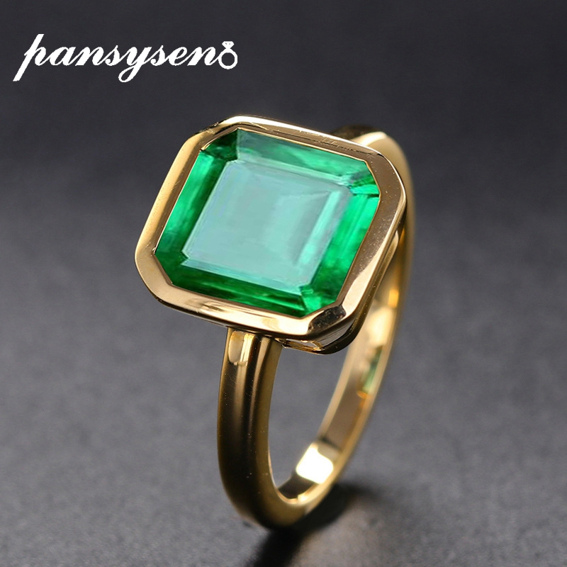 PANSYSEN 18K Gold Color Emerald Rings for Women Vintage Real Silver 925 Ring Mens Jewelry Brand Anniversary Party Gift wholesale(China)
