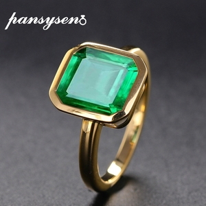 PANSYSEN 18K Gold Color Natural Emerald Rings for Women Vintage Real Silver 925 Ring Mens Jewelry Brand Anniversary Party Gifts(China)
