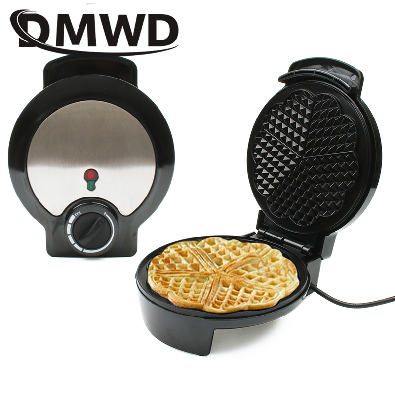 DMWD Electric Waffles Maker Mini Cake Oven Grill Heart Shape Egg Waffle Pan Breakfast Baking Machine Muffin Sandwich Iron EU US