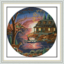 Joy Sunday,Sunset,cross stitch embroidery picture,printing cloth embroidery,cross needlework,Scenery picture cross