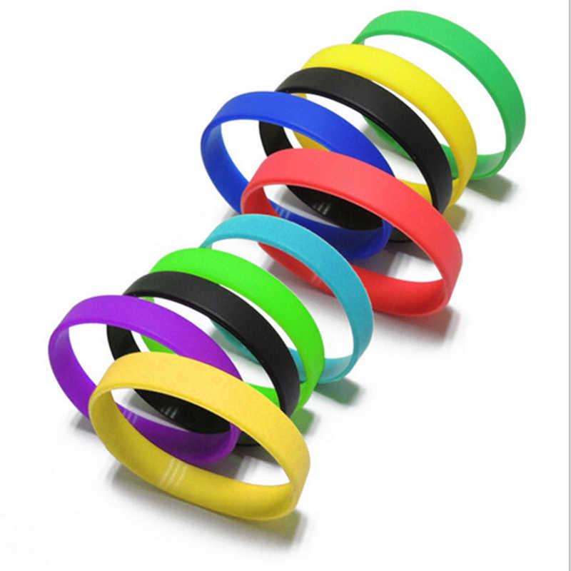 Multi colores en blanco adulto hombres pulsera redonda de goma de silicona deportes baloncesto brazalete Casual para regalo de la joyería