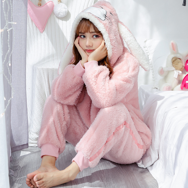 Winter Warm Pyjamas Women Nightwear Velvet Long Sleeve Sleepwear Flannel Pajamas Set Cartoon Rabbit Home Clothes Pijama Mujer