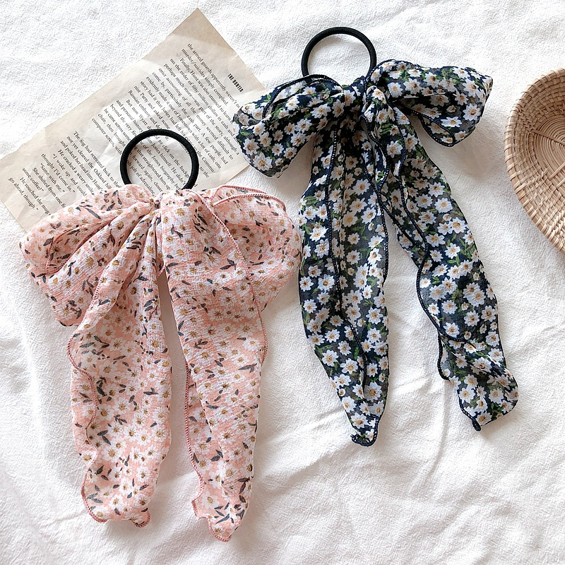 Vintage Floral Bow Hair Ties For Women Horsetail Rubber Bands Girl Head Hair Accessories