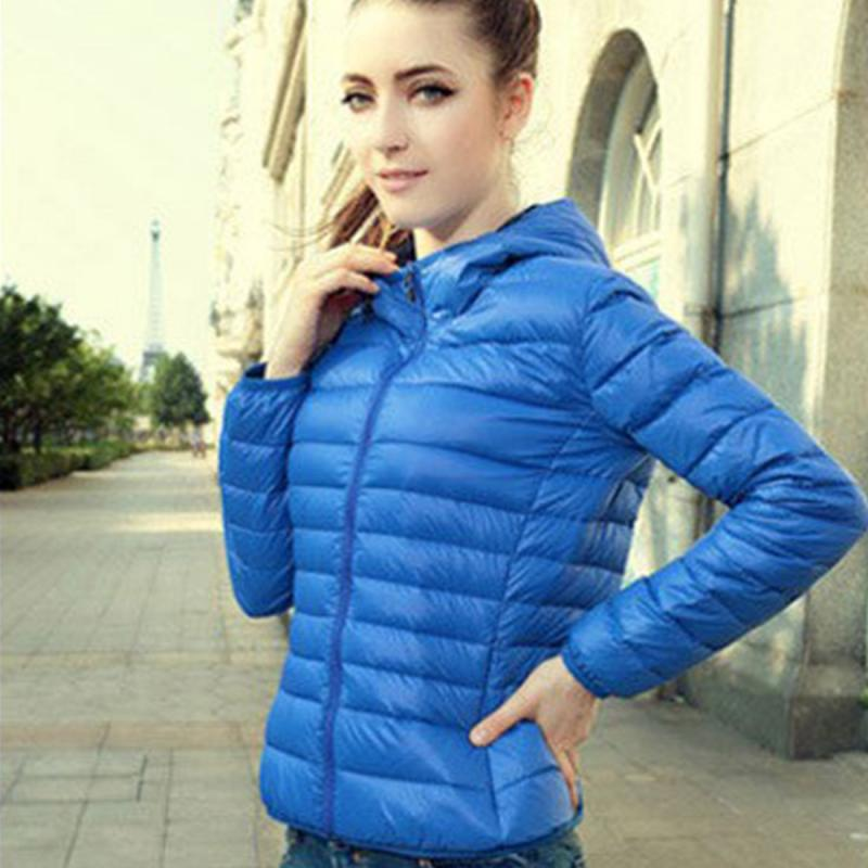 Slim Lady Winter   Parkas   Casual Style Women Winter Zipper Hooded Coat Long Sleeve Goose Down Jacket Candy Color Coats