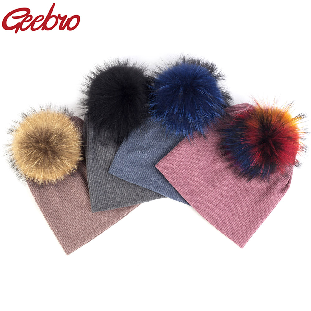 Geebro Casual Cotton Unisex Ribbed Beanies Caps For Women Men Winter Soft 15 Cm Real Raccoon Fur Pompom Skullies Fashion Hats