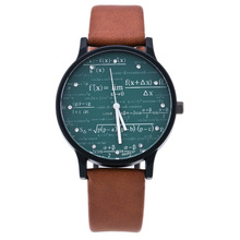 Creative Mens Watch Leather Quartz Mathe Matical Formula Prints Fashion Wrist