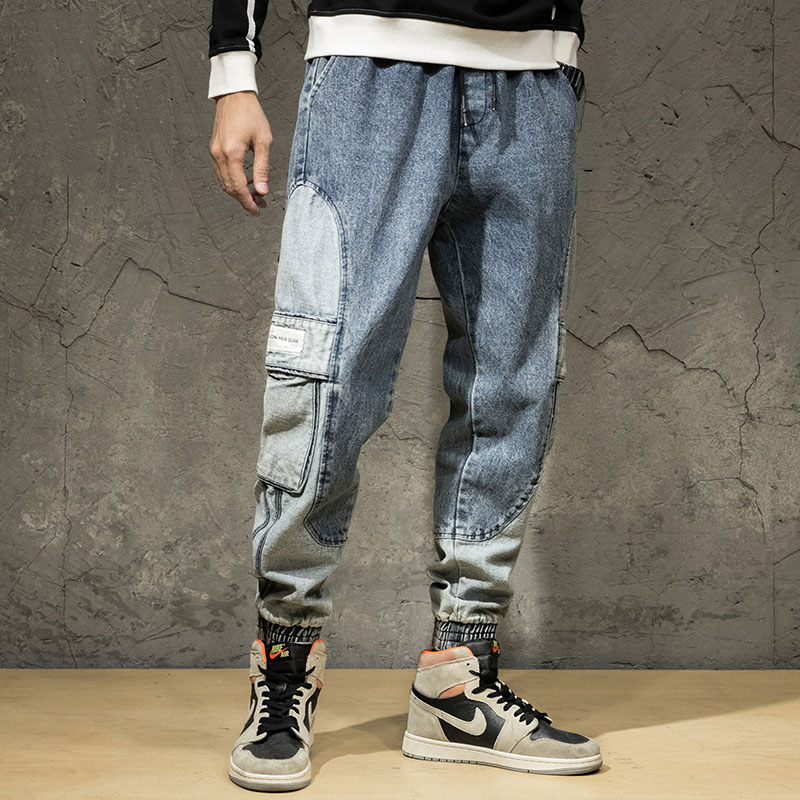 Fashion Streetwear Men Jeans Loose Fit Spliced Designer Denim Cargo Pants Harem Trousers High Quality Hip Hop Jeans Men Joggers