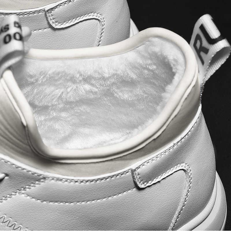 SUROM/теплые короткие плюшевые мужские зимние ботинки водонепроницаемые ботильоны на толстой подошве мужские мягкие удобные классические черные белые кроссовки