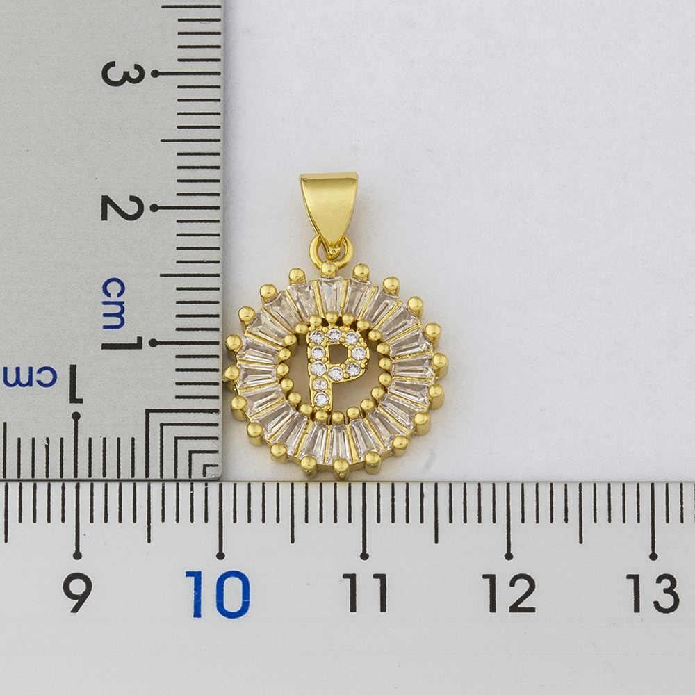 ขายร้อนผู้หญิงเริ่มต้นสร้อยคอ 26 ตัวอักษร Charm ชื่อสร้อยคอจี้คุณภาพสูงทองแดง Zircon เครื่องประดับของขวัญ