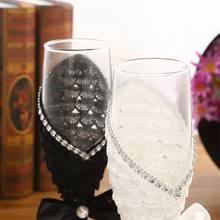 2 stücke Set Hochzeit Glas Kreative Schwarz Weiß Kleid Kristall Hochzeit Champagner Glas QXNA