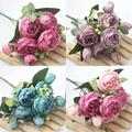 1 Bouquet 9 heads Artificial Peony Tea Rose Flowers Camellia Silk Fake Flower flores for DIY Home Garden Wedding Decoration
