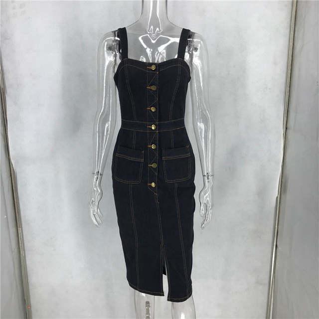 US $21.23 41% OFF|Seksowna casualowa sukienka jeansowa midi letnie stroje dla kobiet sundress bez rękawów pasek kieszeń na guzik dżinsy sukienka