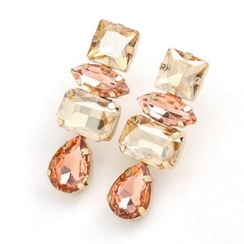 Rhinestone Water Drop Dangle Earrings 1
