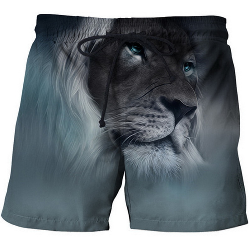 DIHOPE Men Beach Shorts Beach Pants Quick Dry Swim Surfing Boating 3D Lion Water Sports Trunks Breathable Loose Swimwear Short