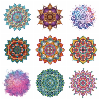 Iron On Patches Mandala Flowers Stripes Thermal Stickers On Clothes Heat Transfer Fusible Heat Transfer Vinyl Custom Patch image