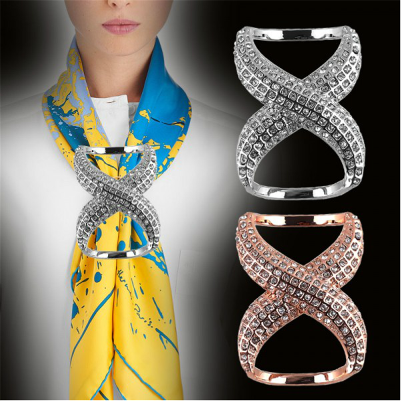 Women Brooch Shawl Buckle Scarves Fastener Crystal Silk Scarf Clip Buckle Holder Jewelry Gift Accessories Cheap Wholesale