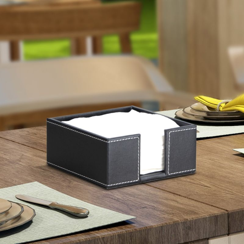 PU Leather Square Cocktail Napkin Holder Tissue Box Paper Serviette Dispenser Bar Caddy for Dining Table Hotel Office Home Decor
