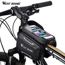 WEST BIKING, велосипедные сумки, передняя рама, высокое качество, MTB, велосипедная сумка, аксессуары для велоспорта, водонепроницаемый экран, сенсорная верхняя труба, сумка для телефона