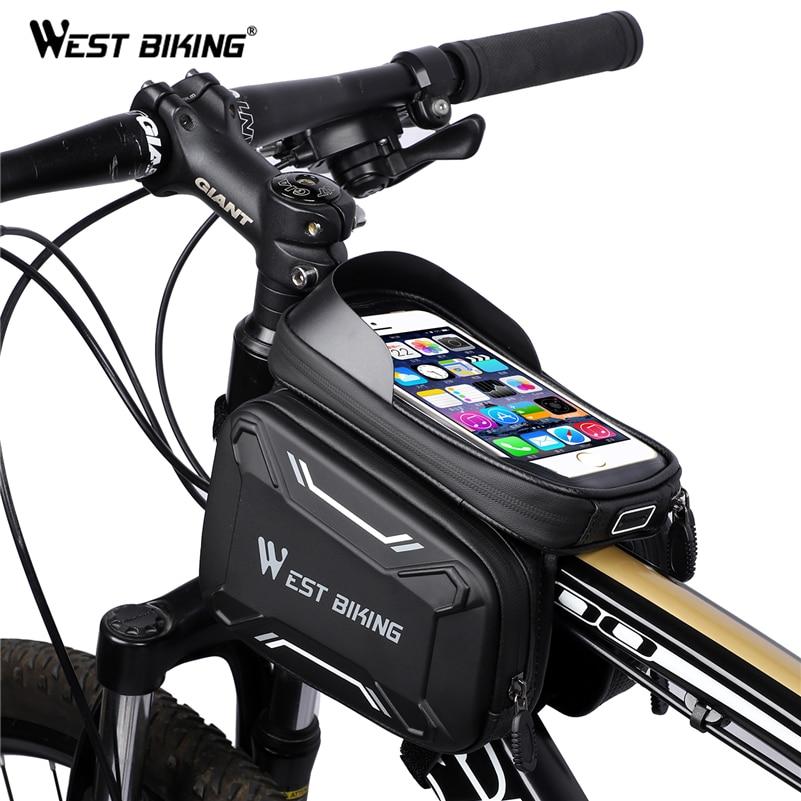 Сумка для велосипеда WEST BIKING, передняя рамка, высокое качество, MTB, велосипедная сумка, аксессуары для велоспорта, водонепроницаемая сумка для телефона с сенсорным экраном|Сумки и корзины для велосипеда|   | АлиЭкспресс