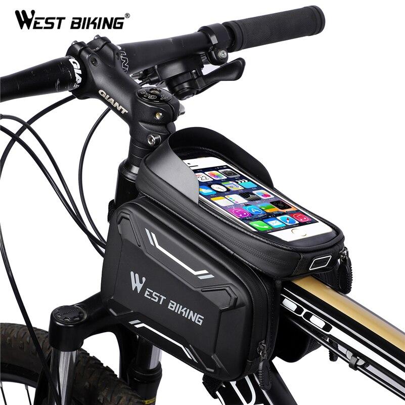 WEST FIETSEN Fiets Tassen Front Frame Hoogwaardige MTB Bike Bag Fietsen Accessoires Waterdicht Scherm Touch Top Tube Phone Bag