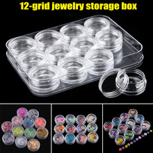Clear Plastic Sample Container 12 Mini Bottle Jars Cosmetic Tools Nail Art Crafts Storage Box AC889
