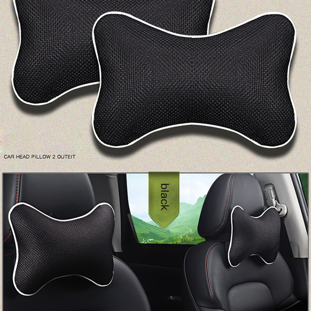 2pcs New Universal Headrest Car Neck Pillow Ice Silk Carbone Rest Cushion Small Head Pillow For Car Interior Accessories 5