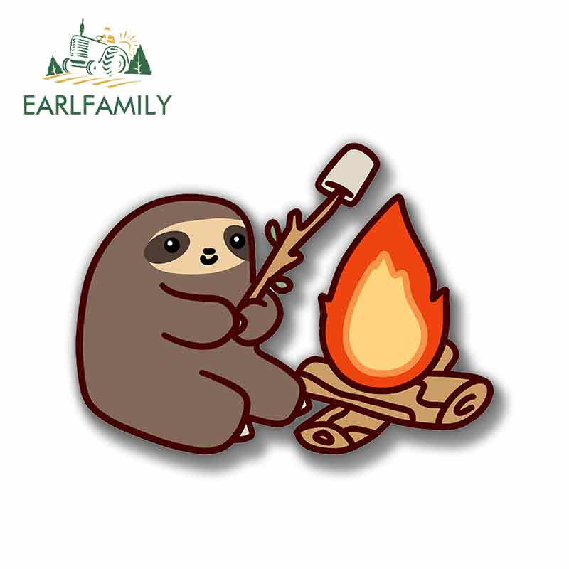 EARLFAMILY 13cm X 9.7cm For Sloth Roasting Marshmallows Vinyl Graphic Decal Creative Decals VintageCar Scratch-Proof Sticker