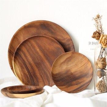 Круглая твердая деревянная дощечка весь акации фруктовые тарелки деревянная тарелка Чай лоток десертный ужин тарелка для завтрака с декал...