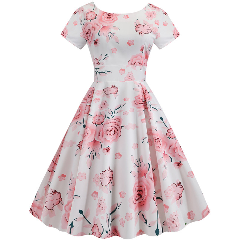 Summer Floral Print Elegant A-line Party Dress Women Slim White Short Sleeve Swing Pin up Vintage Dresses Plus Size Robe Femme 212