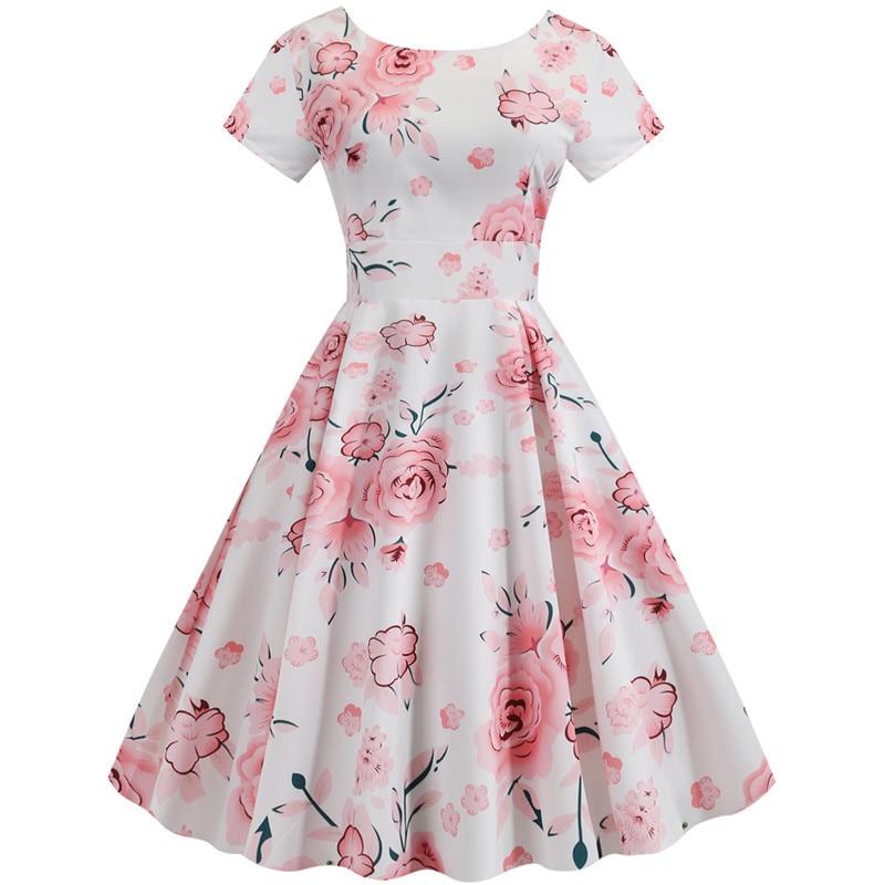 Summer Floral Print Elegant A-line Party Dress Women Slim White Short Sleeve Swing Pin up Vintage Dresses Plus Size Robe Femme 45