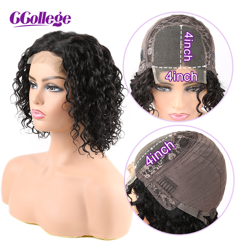4x4 Closure Wig Brazilian Water Wave Human Hair Wig Glueless Lace Closure Wig With Baby Hair Pre Plucked 130% Density