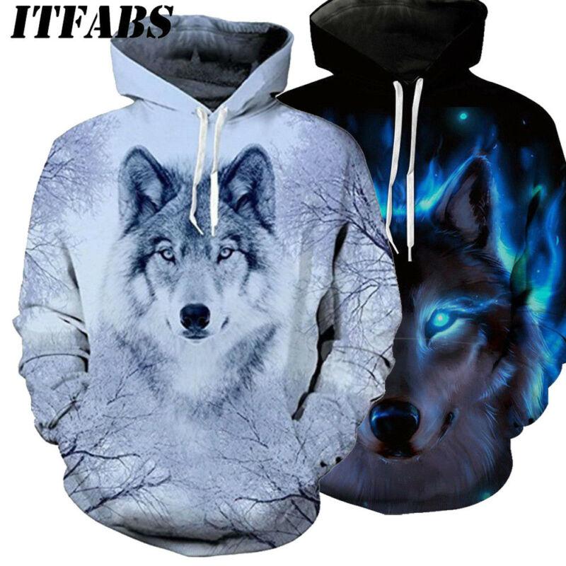 Winter Warm Women Men Animal Graphic 3D Wolf Print Hoodie Hooded Long Sleeve Sweatshirt Pullover Tops Costume Clothing