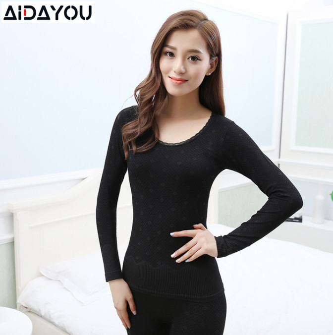 Women Warm Underwear Sexy Ladies Clothes Thermal Intimates Print Long Johns Tops And Bottom Suit Winter Slim  Lingerie Ouc691