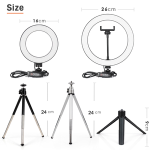 Image 5 - 24cm צילום ברזל חצובה עבור טלפון נייד מחזיק אביזרי עם טבעת מנורת אור חצובה עבור Smartphone המצלמה Selfie st