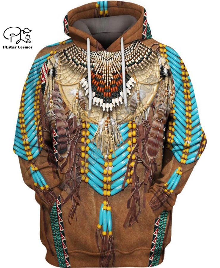 Black Native Indian 3D Hoodie Tee Men Women New Fashion Hooded Sweatshirt Long Sleeve Pullover Style-3