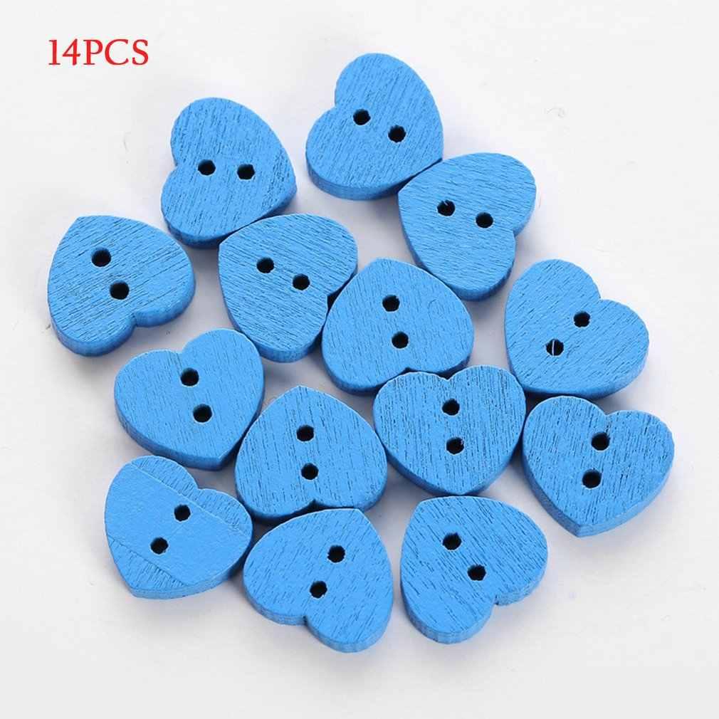 14 adet/torba DIY kalp şekli dikiş ahşap düğmeler çocuklar için giysi dekoratif düğme el sanatları Scrapbooking aksesuarları