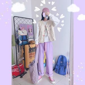 Image 2 - Harajuku Cartoon hafty spodnie dżinsowe damskie japońskie wysokiej talii śliczne dorywczo fioletowe spodnie koreańskie Kawaii dziewczęce spodnie z szerokimi nogawkami