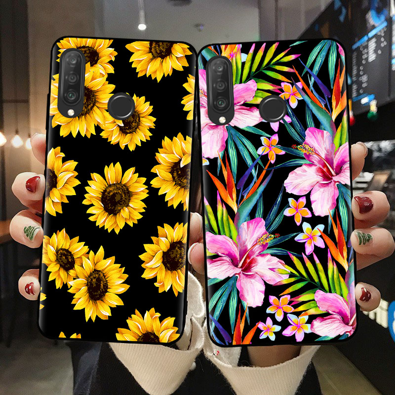 Banana Leaves Daisy Rose Flowers Phone Case For Huawei P10 P20 P30 P40 Lite E Soft Silicone Cover For Huawei P30 Lite Shell Capa