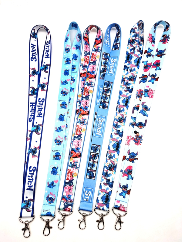New Cartoon  Stitch   Neck Strap Lanyards  Badge Holder Rope Pendant Key Chain Accessorie