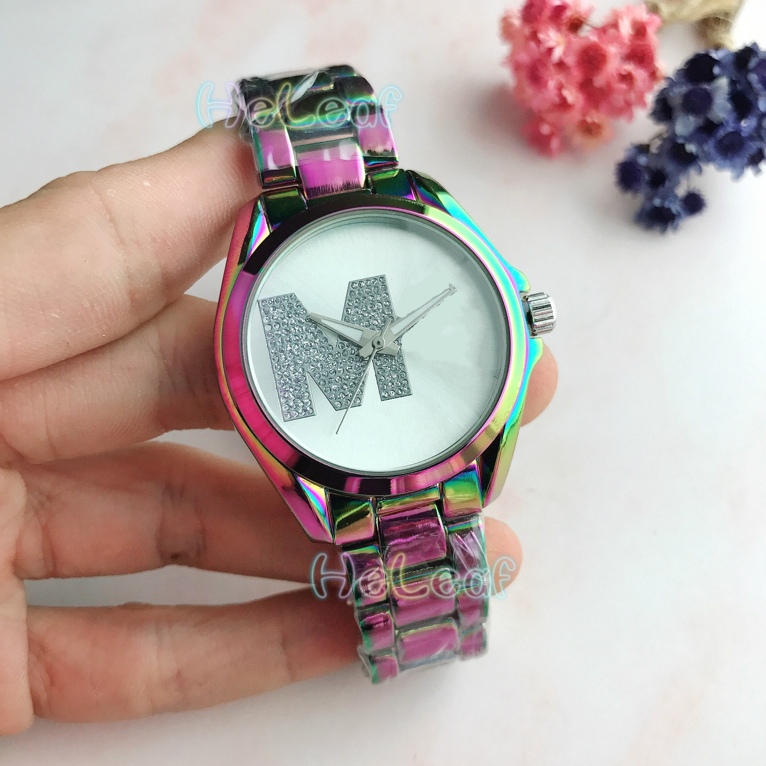 NEW Luxury Fashion Women Watches Colorful Silver Gold Round Stainless Steel Band Quartz Watch Female Clock Montre Femme Relogio